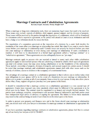 Marriage Contracts and Cohabitation Agreements