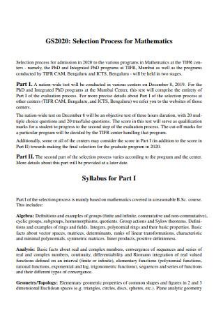 Mathematics Syllabus Templates