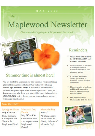 May Pre School Newsletter