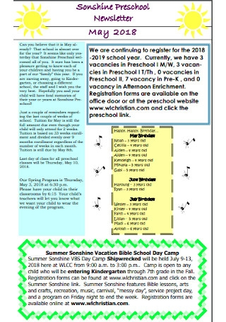May Preschool Newsletter