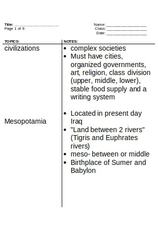 Mesopotamia Cornell Notes