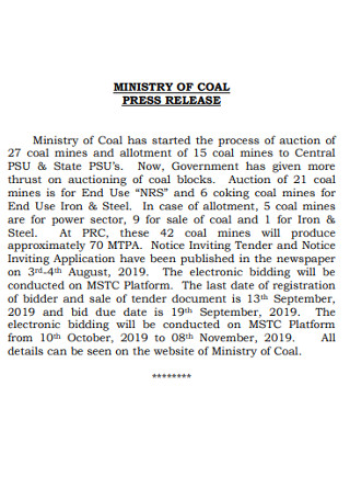 Ministry of Coal Press Release