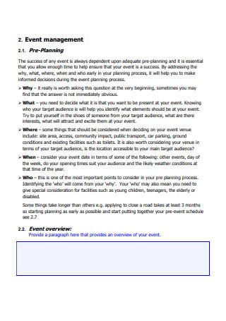 Model Event Management Plan