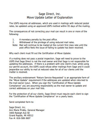 Move Update Letter of Explanation