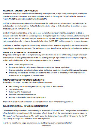 Need Statement for Project Template