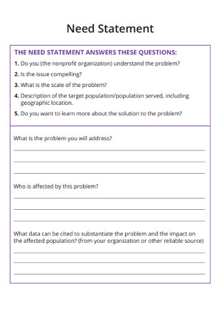 Need of Statement Answer and Questions