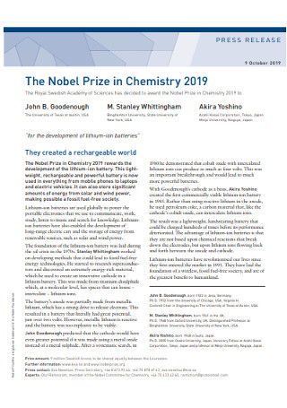 Nobel Prize Press Release Example