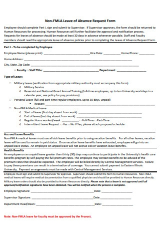 Non FMLA Leave of Absence Request Form