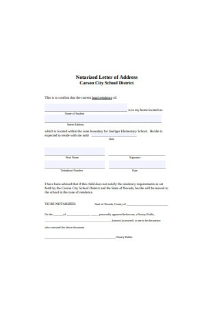 Notarized Letter of Address