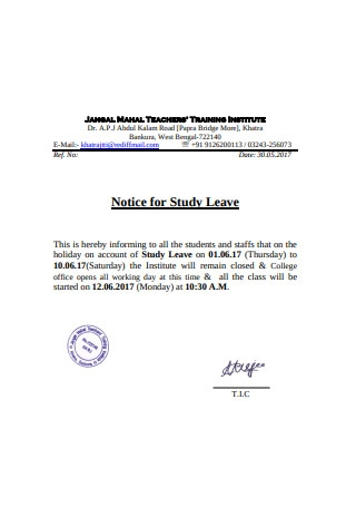 Notice for Study Leave
