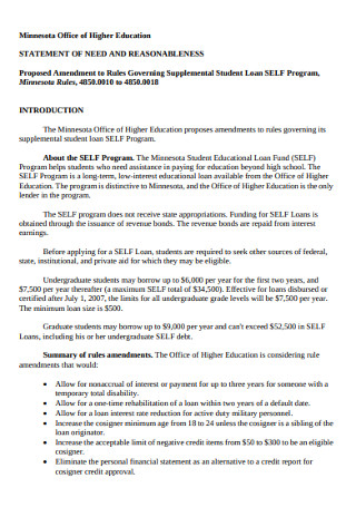 Office of Higher Education Statement of Need
