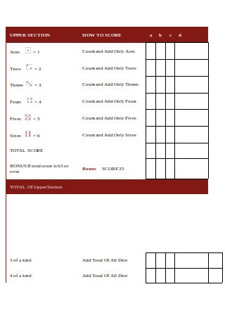 Official Yahtzee Sheet