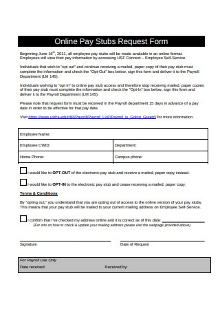 Online Pay Stub Request Form Sample