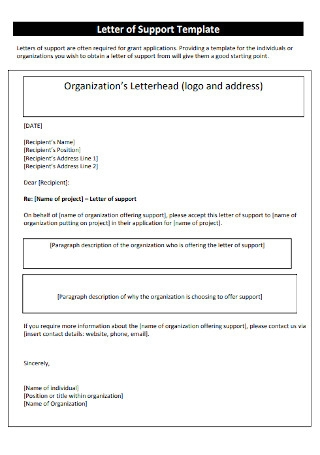 Organization's Letter of Support Template