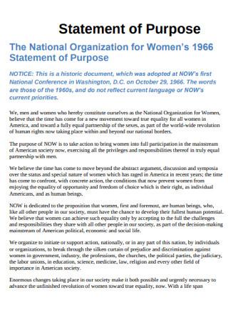 Organization for Women Statement of Purpose