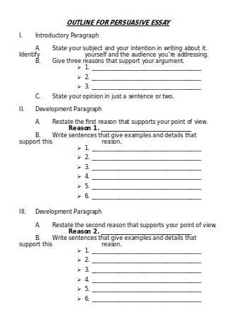 Outline for Persuasive Essay