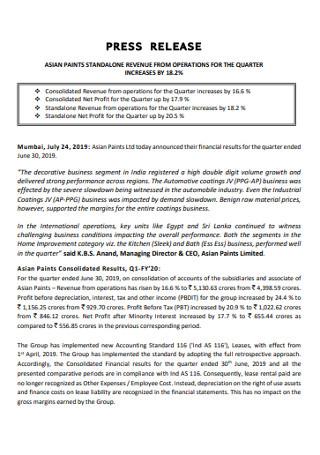 Paints Revenue Press Release