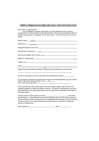 Parent Permission Form for Field Trip