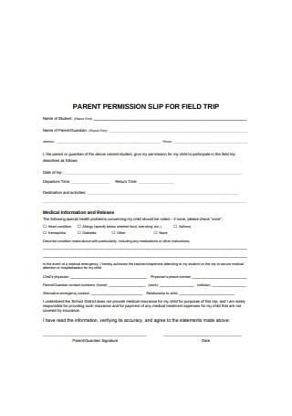 Parent Permission Slip for Field Trip