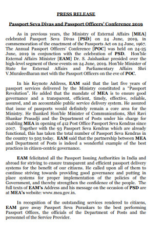 Passport Officers Press Release