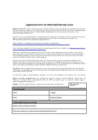 Paternity Leave Application Form Example