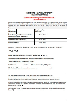 Paternity Leave Declaration Form