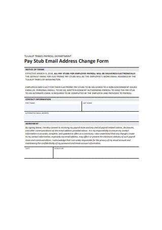 Pay Stub Email Address Change Form