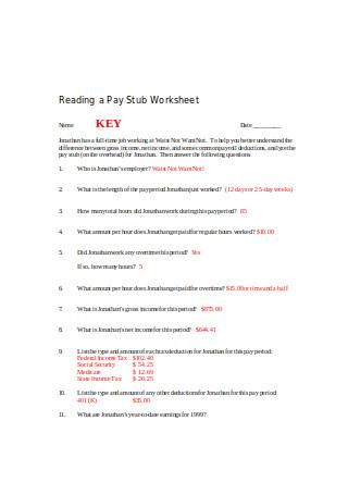 Pay Stub Worksheet