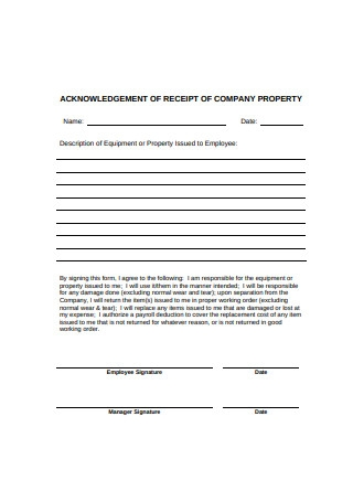 Payroll Acknowledgement Receipt of Company Property