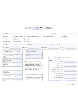 Payroll Check Correction Form