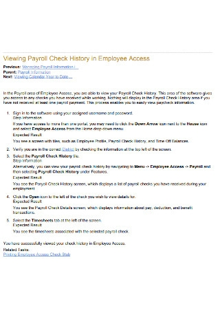 Payroll Check History in Employee Access Template