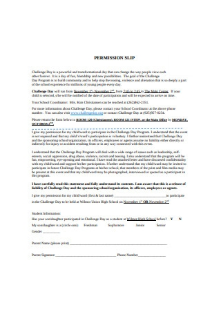 Permission Slip Format
