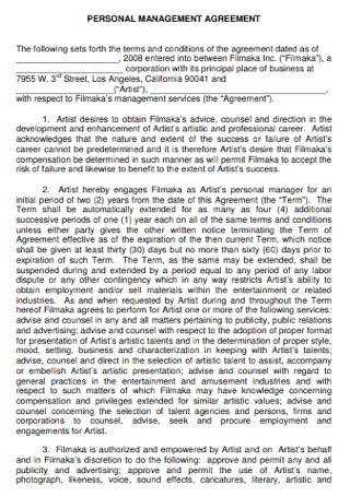 Personal Management Agreement