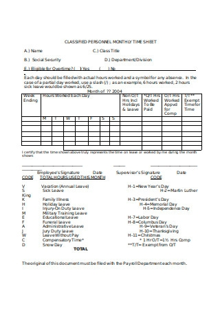 Personal Monthly Timesheet
