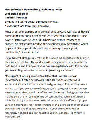 Personal Nomination Reference Letter