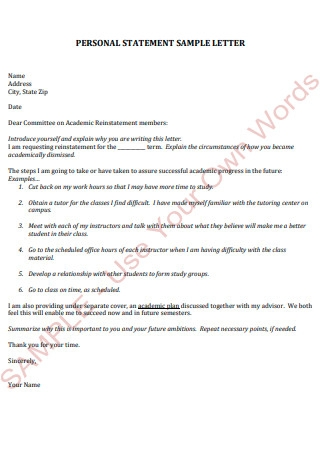 Personal Statement Sample Letter