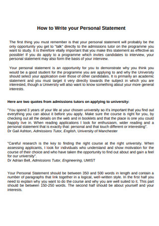 Personal Statement of Need Template