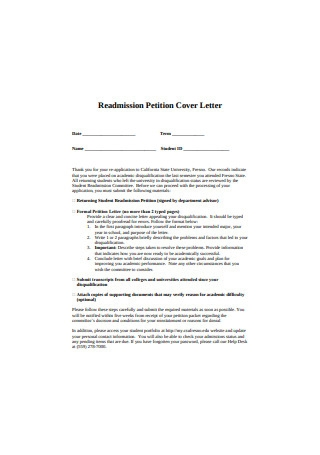 Petition Cover Letter