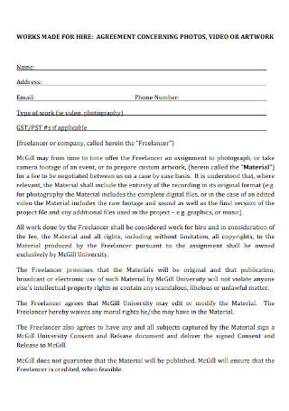 Photos Work for Hire Agreement