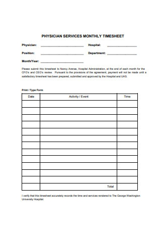 Physician Services Monthly Timesheet