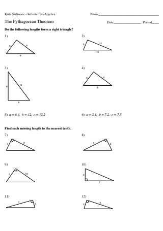 Pre Algebra Pythagorean Theorem