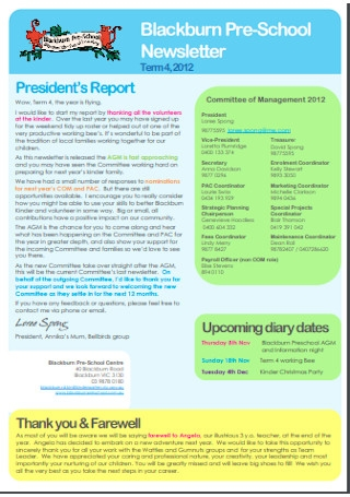 Pre School Newsletter Report