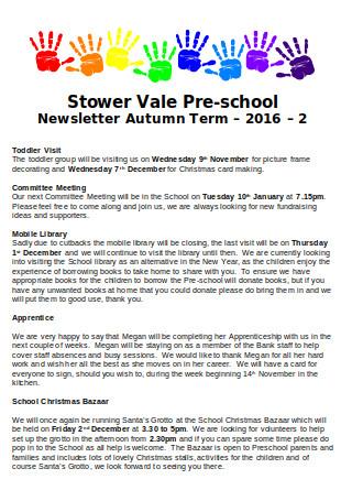 Pre school Newsletter Autumn