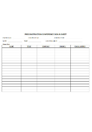 Preconstruction Conference Sign in Sheet