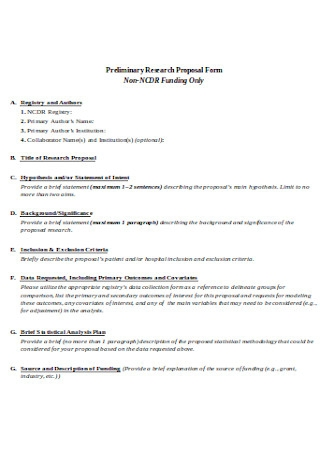 Preliminary Research Proposal Form