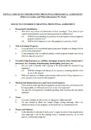 Prenuptial Agreement Checklist Template