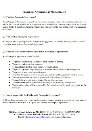 Prenuptial Agreements in Massachusetts