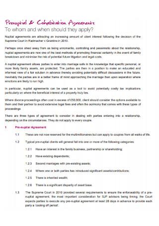 Prenuptial and Cohabitation Agreement