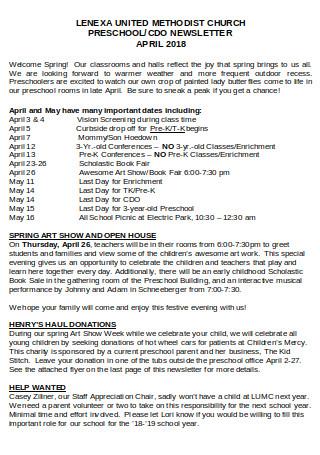 Preschool CDO Newsletter