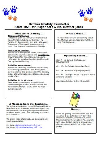 Preschool Monthly Newsletter
